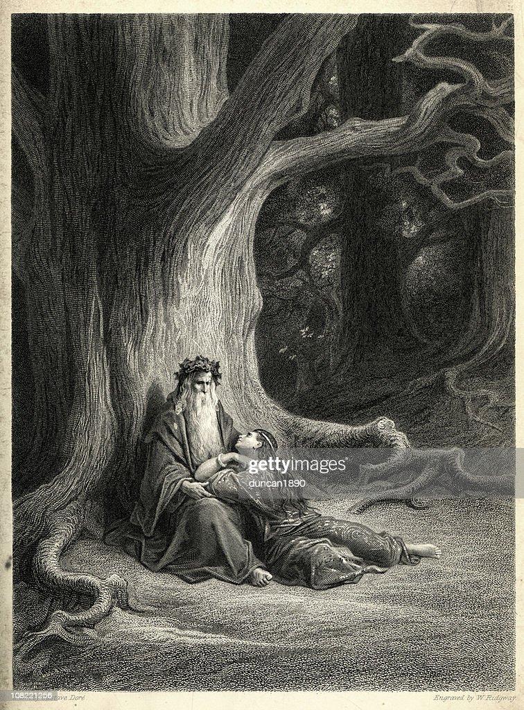 Merlin and Vivien : stock illustration