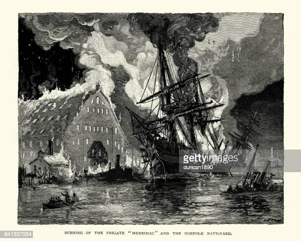 uss merrimack aflame during the burning of norfolk navy yard - us navy stock illustrations