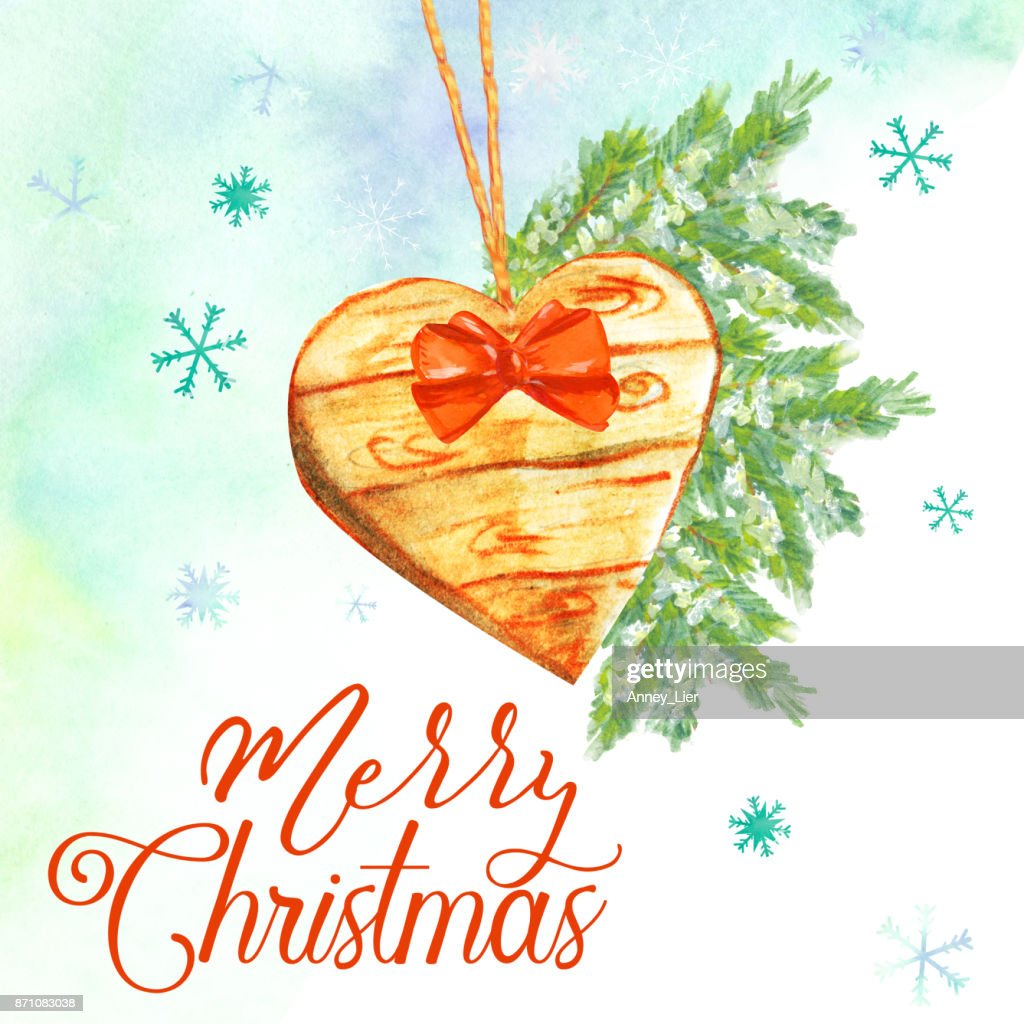 Merry Christmas Card With Wooden Heart Stock Illustration | Getty Images