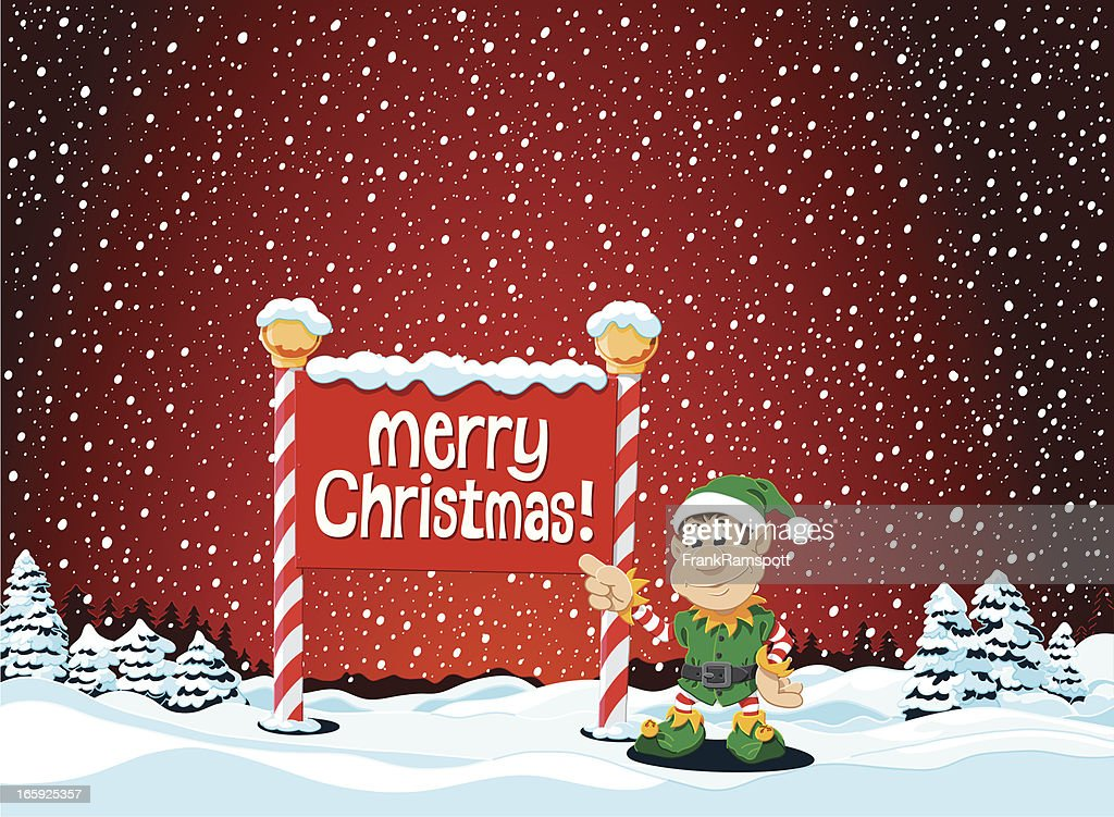 merry christmas elf sign winter landscape vector art - Merry Christmas Elf