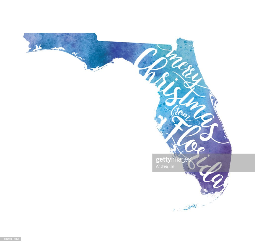 Watercolor Florida Map.Merry Christmas From Florida Watercolor Map Raster Illustration