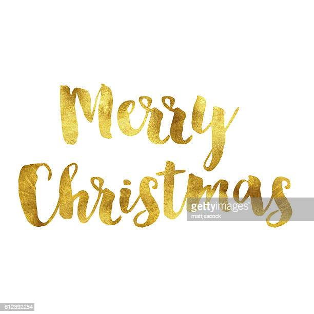 Merry christmas gold foil message