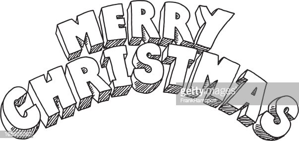 Merry Christmas Lettering Drawing Vector Art