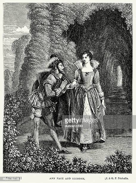 merry wives of windsor - anne page and slender - tudor stock illustrations