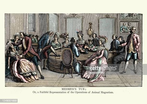 mesmer's tub, animal magnetism, 18th century - hypnosis stock illustrations