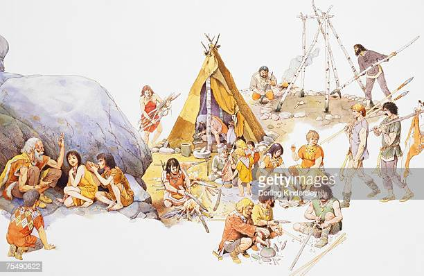 illustrazioni stock, clip art, cartoni animati e icone di tendenza di mesolithic man, gathering around fire in family groups and building dwellings - paleolitico