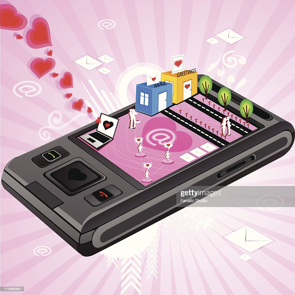 Messages And Greetings Being Transferred Through Mobile Phone Vector