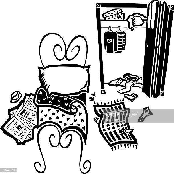 illustrations et dessins anim s de chambre bazar getty. Black Bedroom Furniture Sets. Home Design Ideas