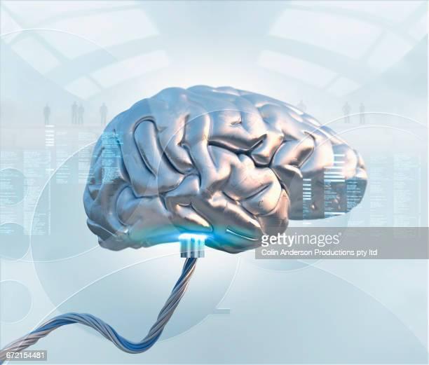 metal artificial intelligence brain - artificial intelligence stock illustrations