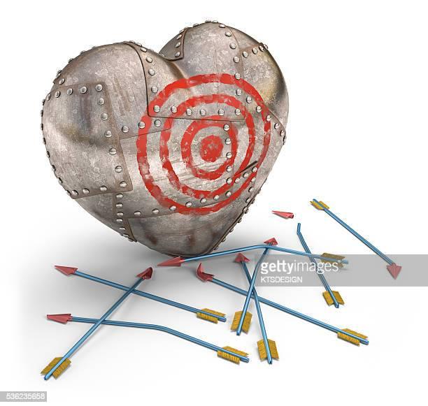 metal heart target, illustration - sports target stock illustrations