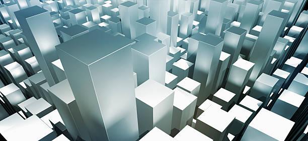 Metallic Gray Three Dimensional Rectangular Shapes Wall Art