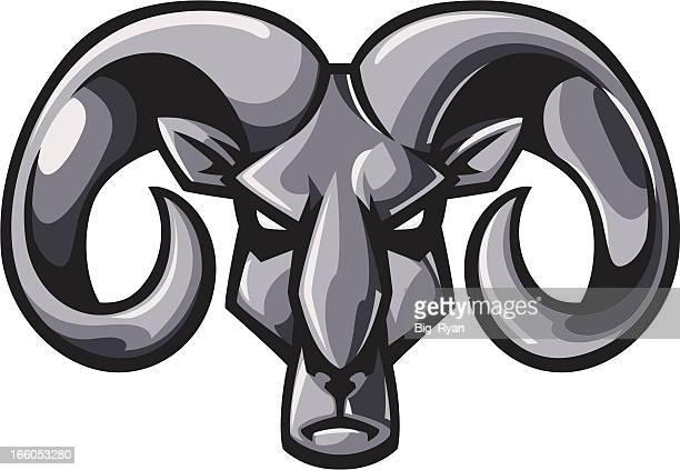 metallic rams head - ram animal stock illustrations, clip art, cartoons, & icons