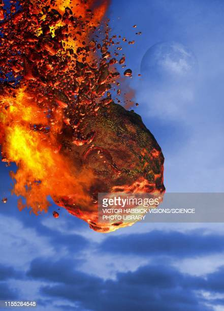 meteor disintegrating, illustration - destruction stock illustrations