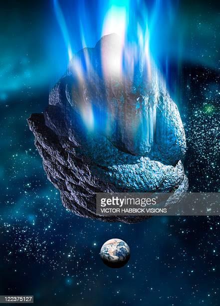Meteor heading for Earth, artwork