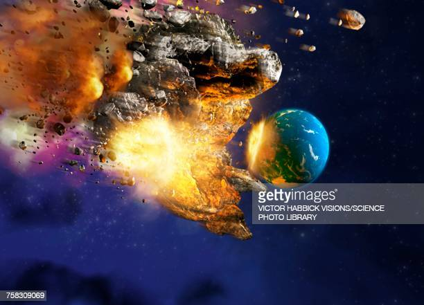 meteor hitting planet earth, illustration - victor habbick stock illustrations