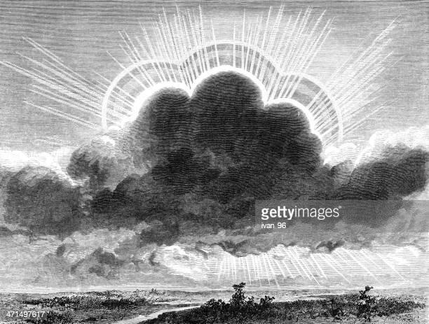 meteor light - biblical event stock illustrations
