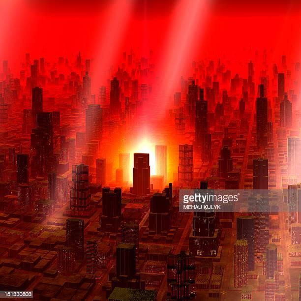 meteor shower over alien city, artwork - meteor shower stock illustrations