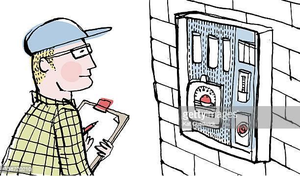 ilustrações, clipart, desenhos animados e ícones de a meter reader - water meter