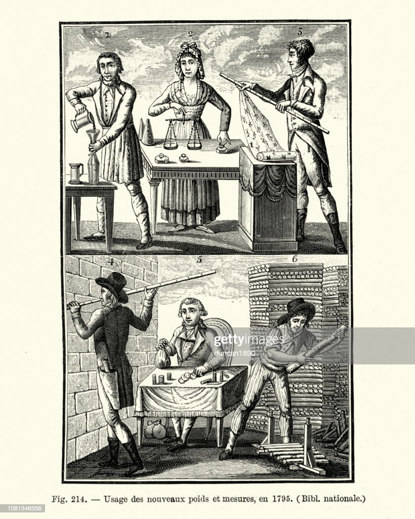 Metric system, Use of new weights and measures, in 1795 : stock illustration