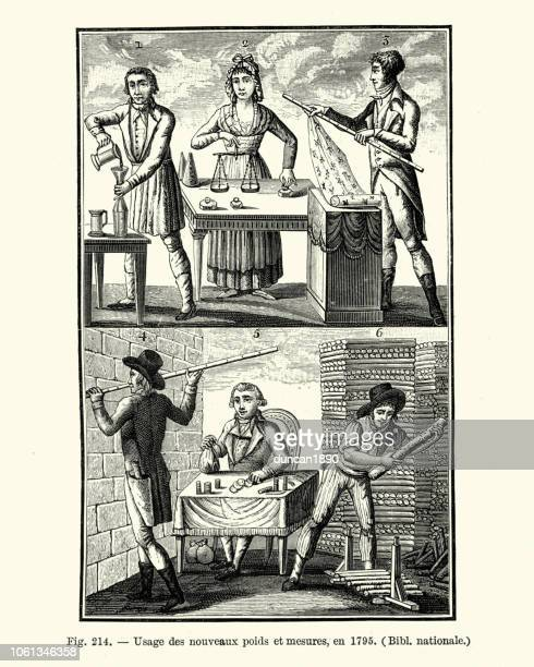metric system, use of new weights and measures, in 1795 - letrac stock illustrations