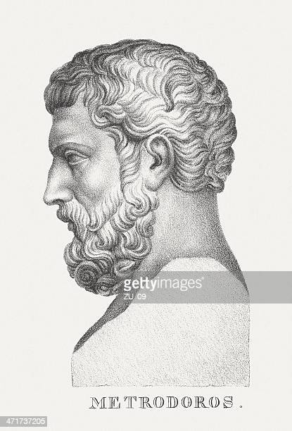 metrodorus of lampsacus, the younger (ancient greek philosopher), published c.1830 - greek statue stock illustrations