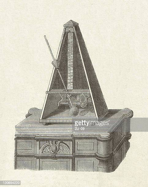 metronome (1815) by johann nepomuk mälzel (1772-1838), published in 1877 - slapping stock illustrations, clip art, cartoons, & icons