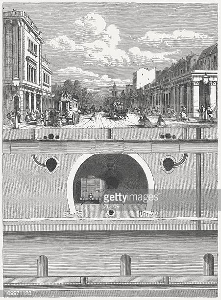 Metropolitan Line, London, cross section, wood engraving, published in 1864