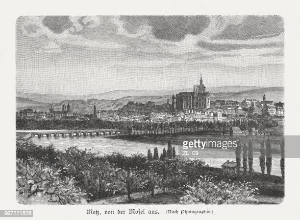 metz, seen from the moselle, france, wood engraving, published 1897 - lorraine stock illustrations, clip art, cartoons, & icons