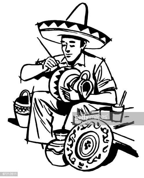 mexican artisan - sombrero stock illustrations