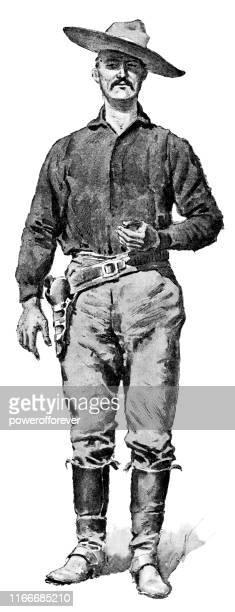 stockillustraties, clipart, cartoons en iconen met mexicaanse cowboy-19e eeuw - cowboy