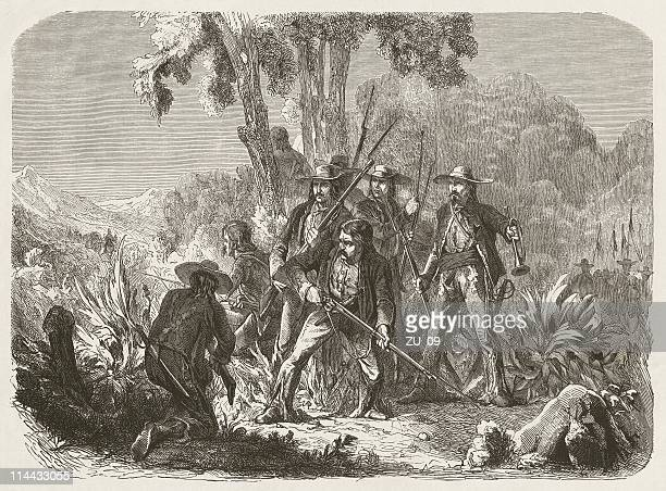 mexican guerrillas in the 19th century, wood engraving, published in 1872 - revolution stock illustrations