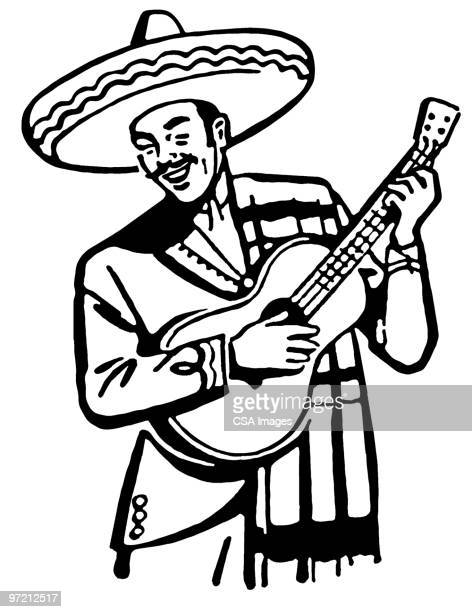 mexican guitarist - sombrero stock illustrations