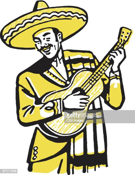 mexican guitarist - mariachi stock illustrations