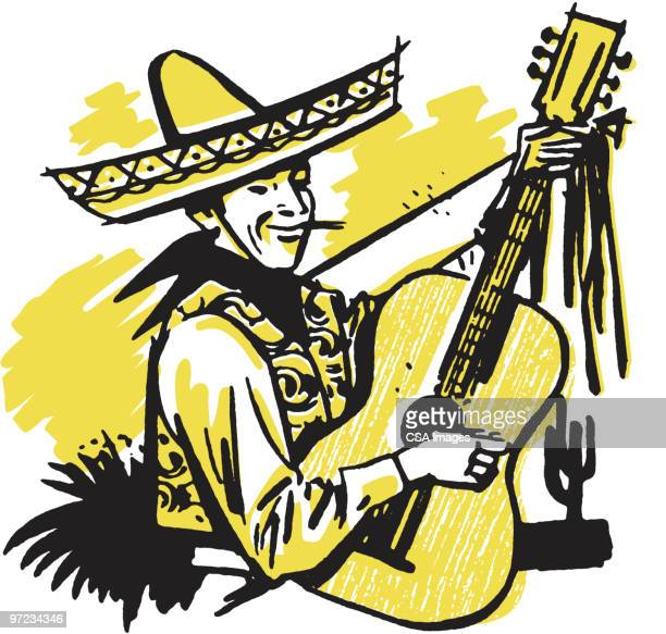 mexican guitarist - sombrero stock illustrations