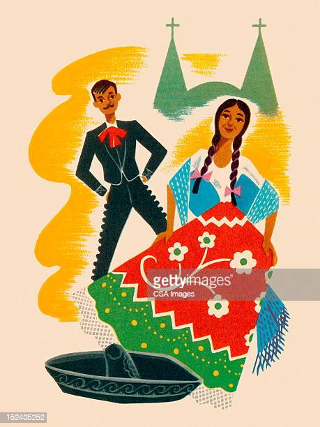 mexican hat dance couple - sombrero stock illustrations