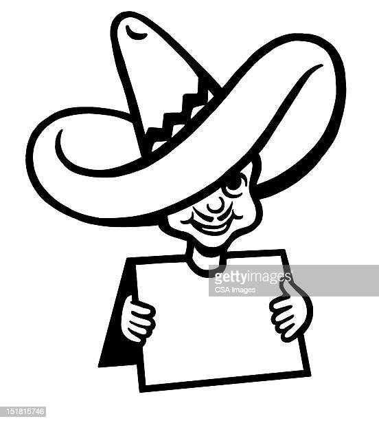 mexican hat signboard guy - sombrero stock illustrations