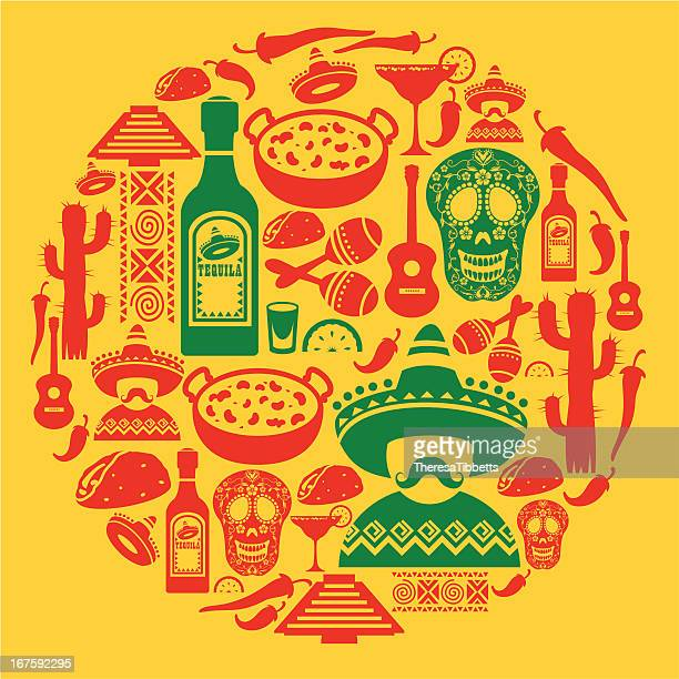 mexican icon montage - mexican food stock illustrations, clip art, cartoons, & icons
