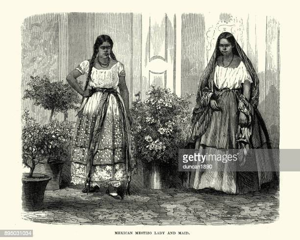 Mexican Mestizo Lady and Maid, 19th Century