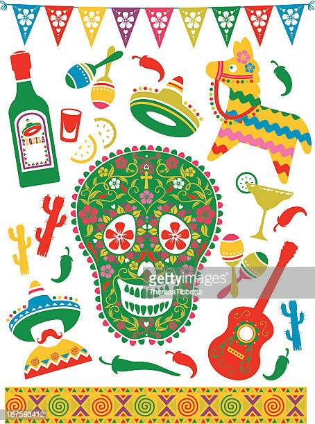 mexican party icons - sombrero stock illustrations