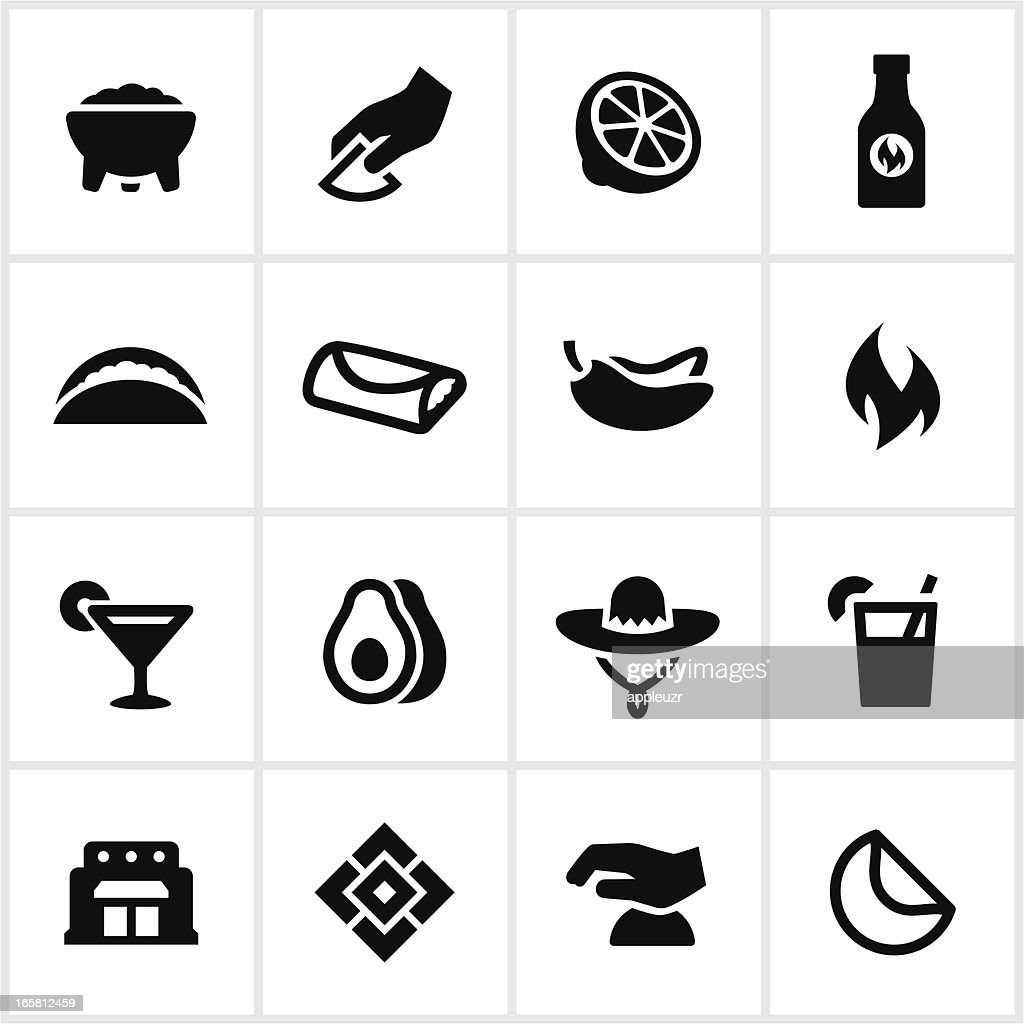 Mexican Restaurant Icons : Stock Illustration