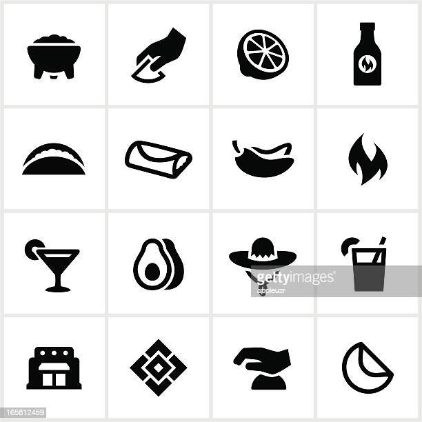 mexican restaurant icons - sombrero stock illustrations