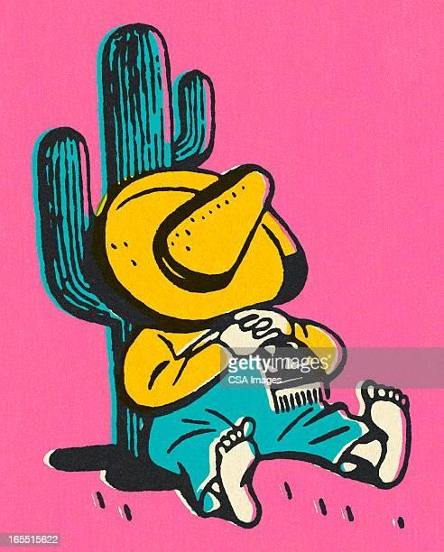 ilustrações, clipart, desenhos animados e ícones de mexican repousando sobre um cacto - sombreiro