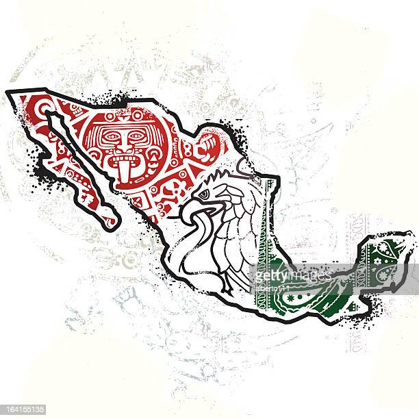 mexican texture map - aztec stock illustrations
