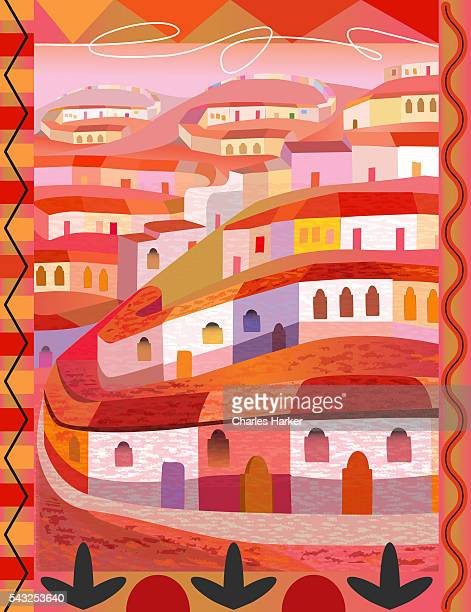 Mexican Town on Hills in Folk Style Illustration