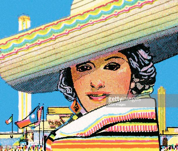 mexican woman - sombrero stock illustrations
