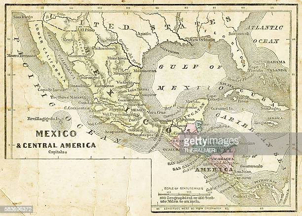 mexico and central america map 1856 - central america stock illustrations, clip art, cartoons, & icons