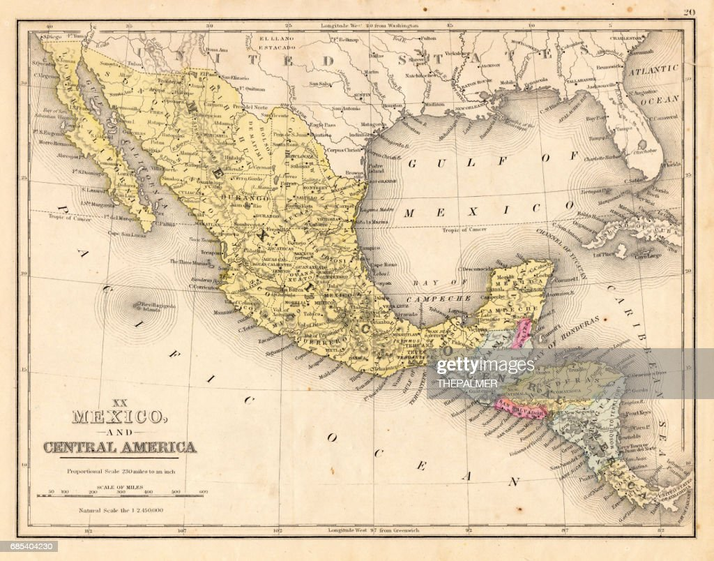 Mexico And Central America Map 1867 Stock Illustration - Getty Images
