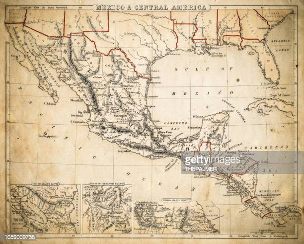 mexico and central america map of 1869 - central america stock illustrations, clip art, cartoons, & icons