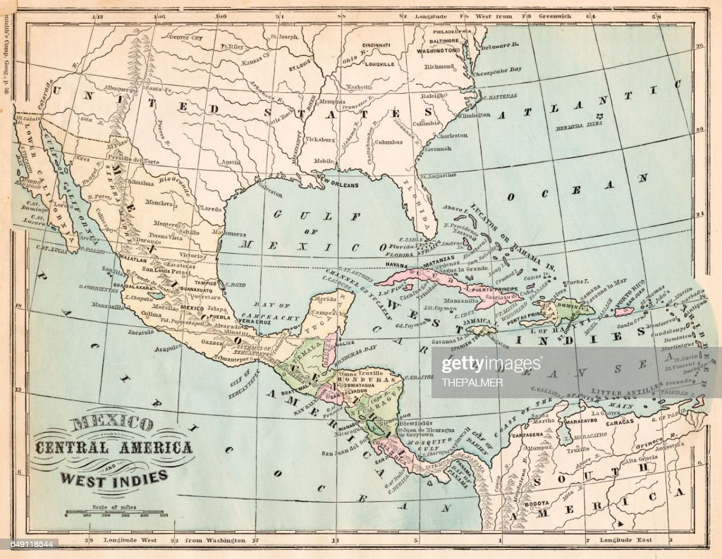 Mexico and West indies map 1875 : stock illustration