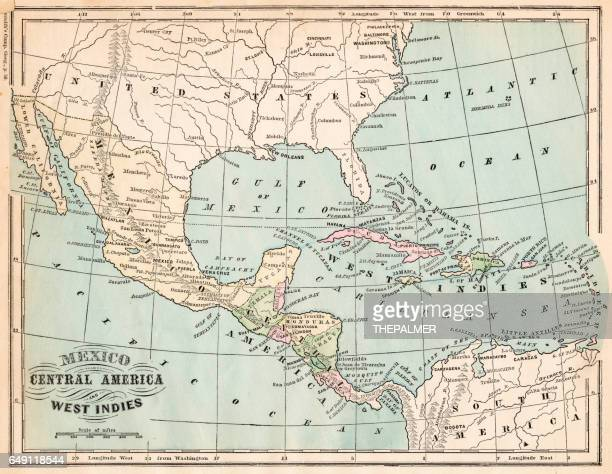 mexico and west indies map 1875 - central america stock illustrations, clip art, cartoons, & icons
